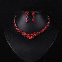 Casamento/Noiva jóias de Prata das Mulheres de Cor/vermelho da menina Cadeia Colar + Brincos Conjuntos de Jóias de Casamento Presentes GL-200