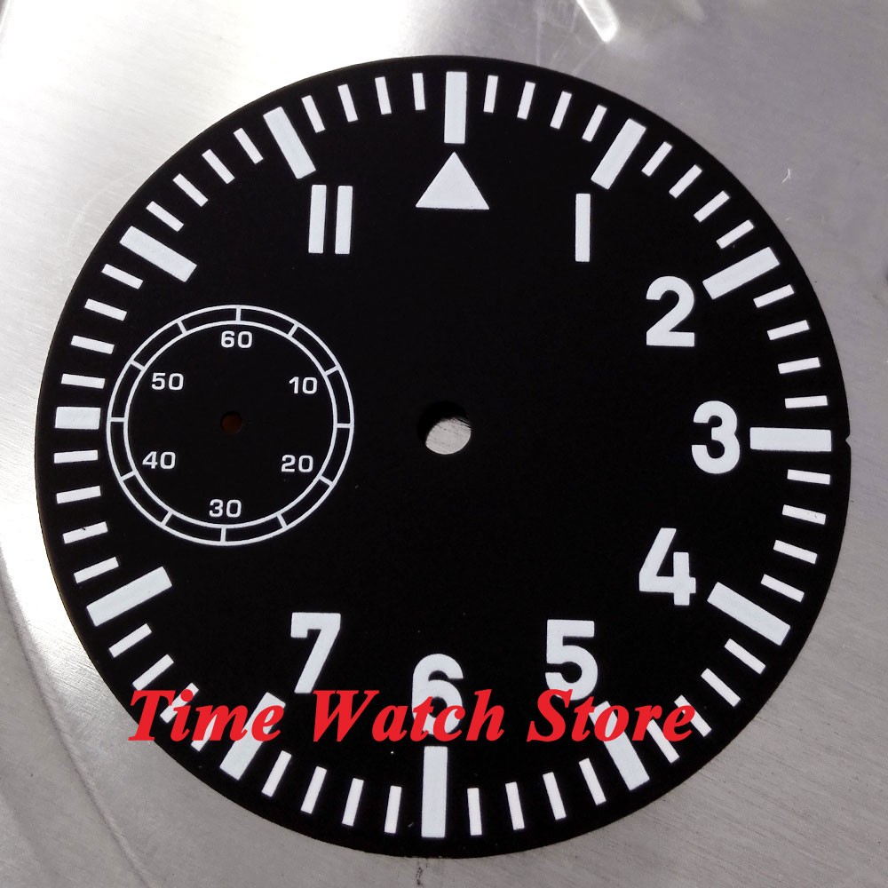 Parnis 38.9mm black sterial dial fit 6497 movement Watch dial blue Luminous white marks D19