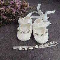 Baby Girl White Christening Baptism Premium Soft Sole Infant Sneaker,Light Ivory Lace Prewalker white Shoes headband set BB619