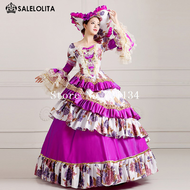 2016 Royal Purple Palace Catwalk Dance Dress Women Vintage Victorian ...