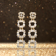 MADALENA SARARA AAAA CZ Zircon Inlaid Women Earring Two Colors Options  Silver And Gold Vintage Fashion Style Square Dangle