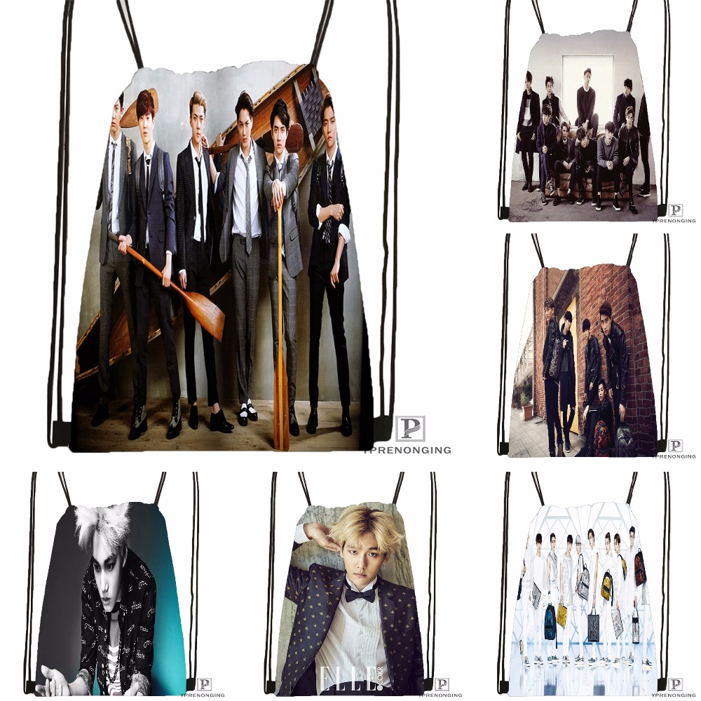 Custom EXO  (31) Drawstring Backpack Bag Cute Daypack Kids Satchel (Black Back) 31x40cm#180531-04-72