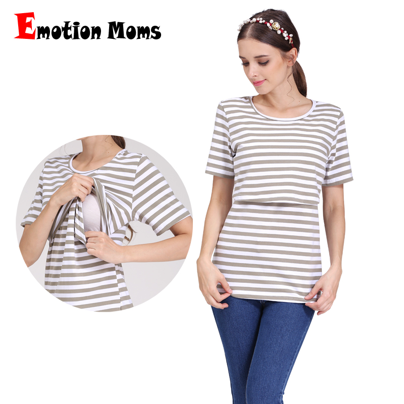 Emotion Moms Kortärmad Maternity Nursing Clothes amningstoppar för gravida kvinnor graviditet sommar Maternity T-shirt