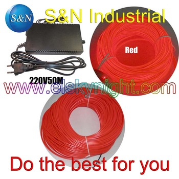 """holiday,party,festival and house decoration Red 4.0MM40~50 M Flexible """"D"""" type el Wire &100-240VAC inverter"""