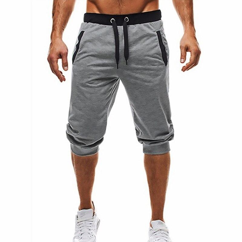 Homens verão Lazer Dos Homens Na Altura Do Joelho Calções Cor Patchwork Corredores Sweatpants Calças Dos Homens Shorts roupa Curta masculina preto 3xl