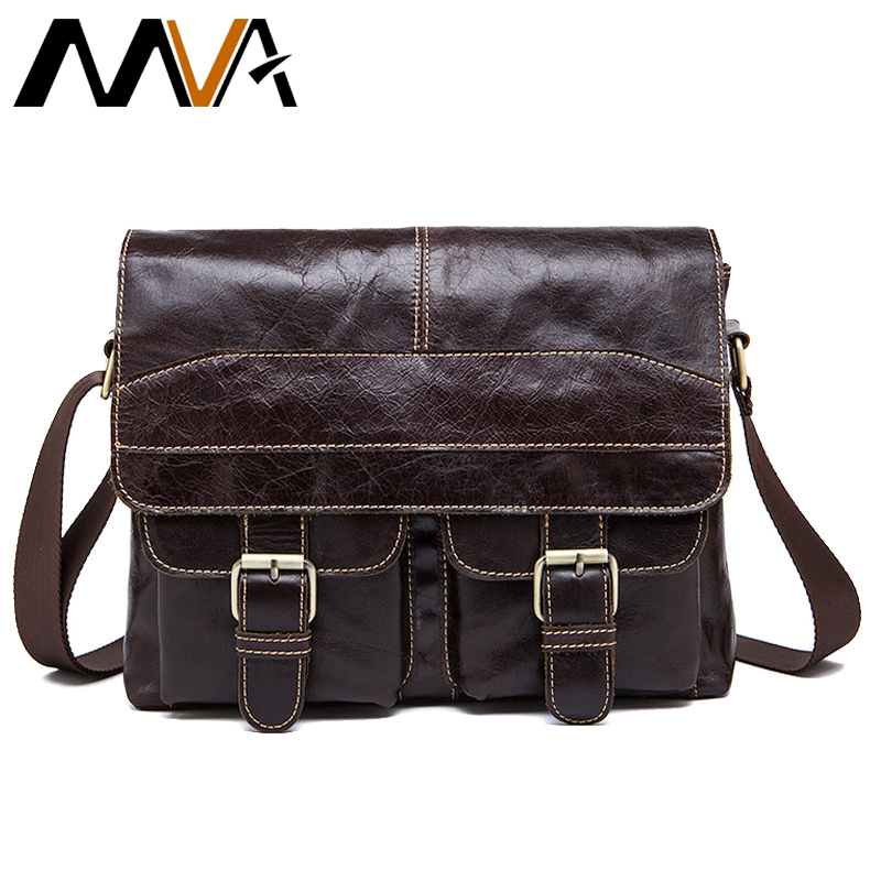 MVA Messenger Bag Men Genuine Leather Shoulder Bag for Men s Bags male Vintage zipper Man