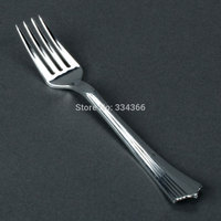 100 adet/grup 17.5 cm Tek Kullanımlık Sert Plastik Metal Gümüş Çatal 7