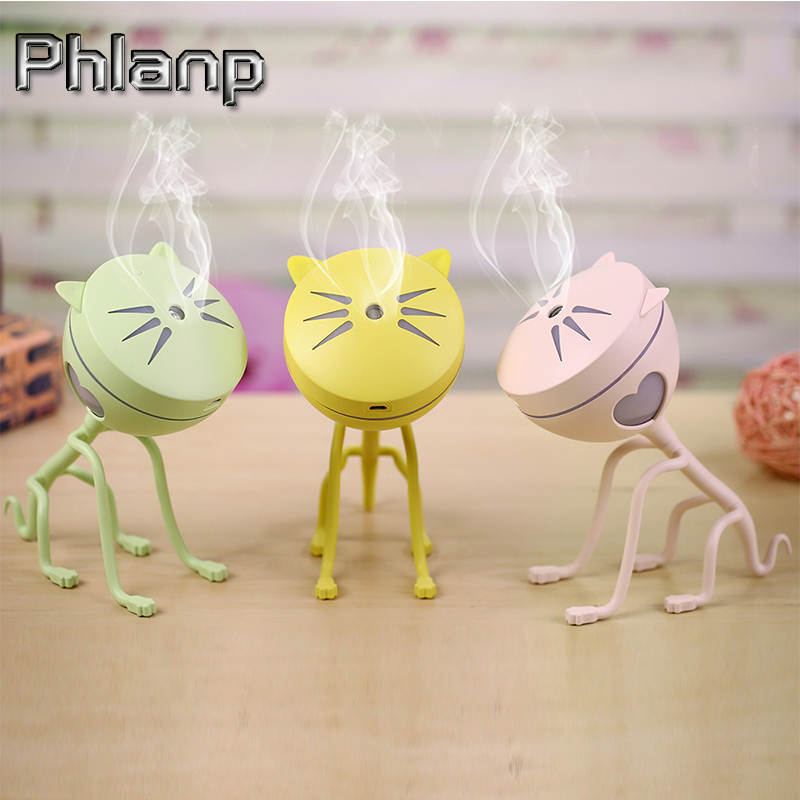 Phlanp 150ML USB Cat Ultrasonic Humidifier Mini air Humidifier Diffuser 5V Car Air Freshener Home Mini Air Purifier Led light
