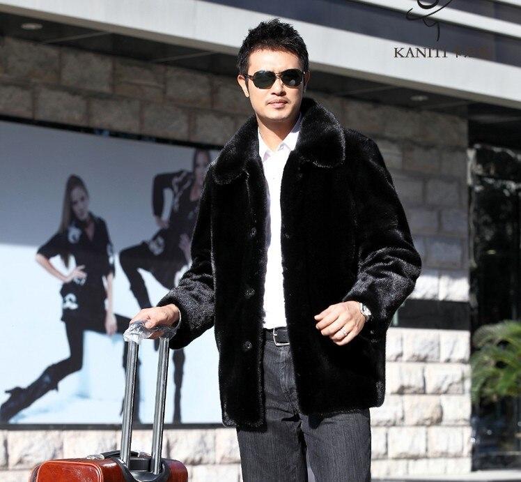 Зимняя стильная норковая шуба из вельвета с отделкой под куницу, теплая верхняя одежда больших размеров, Черная мужская одежда из искусственного меха, меховое пальто, мужские кожаные пальто