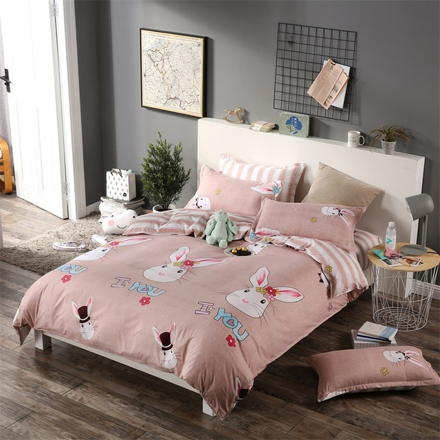 Pink Rabbit Bedding Sets Cute Kids Cartoon Bedclothes Girl Stripe Bed Sheet  Twin Full Single Double