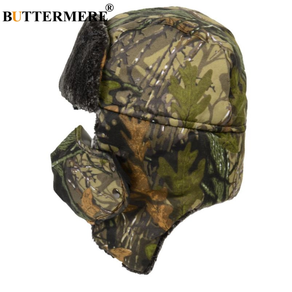 BUTTERMERE Camouflage Bomber Hat Winter Men 39 s Earflap Russian Ushanka Hats Women Warm Camouflage Warm Motorbike Trapper Hats in Men 39 s Bomber Hats from Apparel Accessories