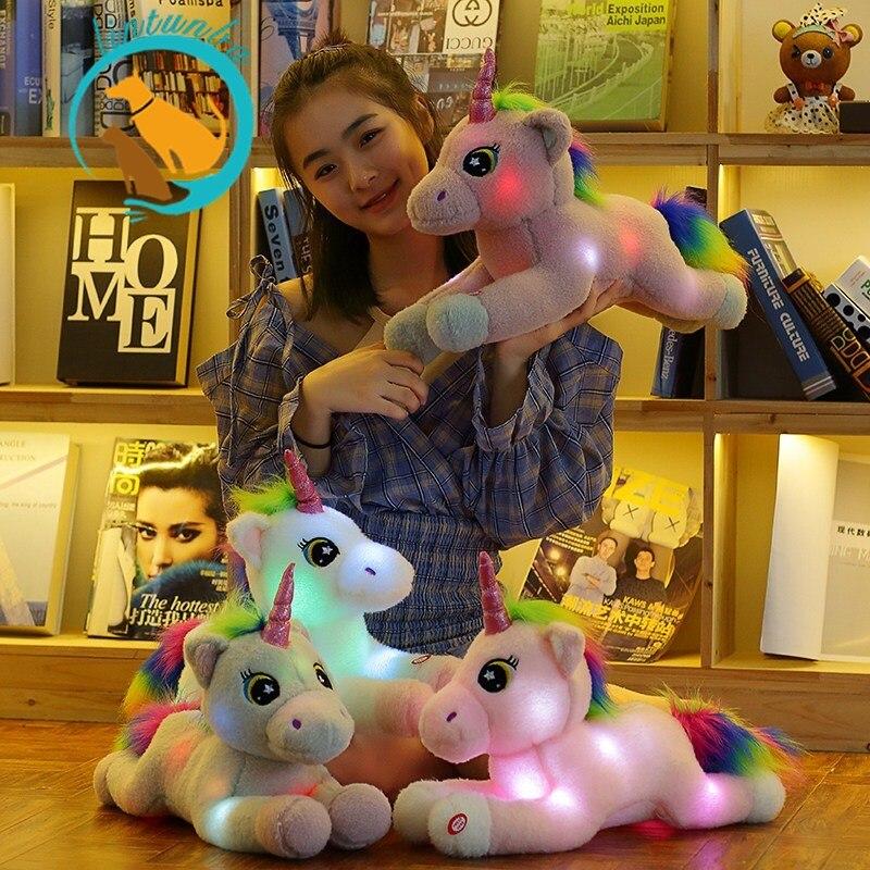 1pc adoravel pelucia acender unicornio animais de pelucia led brinquedos de pelucia kawaii brinquedos macios para
