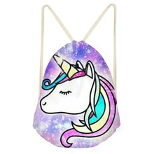 New Cute Cartoon Unicorn Print Horse Drawstring Bag Kids Pouch Storage Package Bag Causal Fashion Female Small Bag Drop Shipping