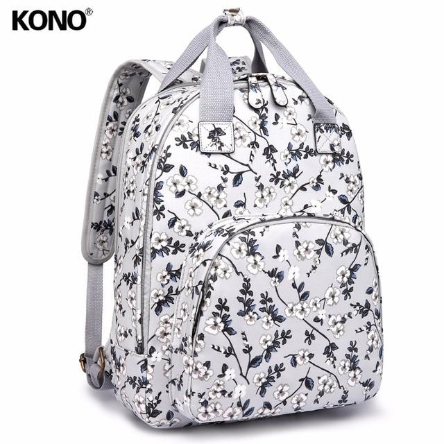KONO Women Backpacks School Bags for Teenagers Girls Matte Oilcloth Grey Flower  Large Rucksack Laptop Padded Shoulder Bag YD1658 5403897f28