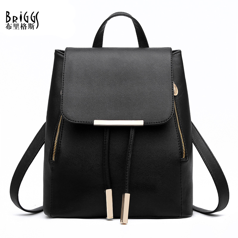 BRIGGS New Women Backpack For Teenage Girls Preppy Style School Bag PU Leather Backpacks Ladies High Quality Top-handle Backpack women travel backpack new preppy style student school bag solid backpacks for teenage girls pu casual zipper shoulder schoolbags