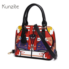 Kunzite Famous Brand Women Bags Shell Printing Handbags High Quality Pu Leather Tote for Girls Fashion Crossbody Bags sac a main