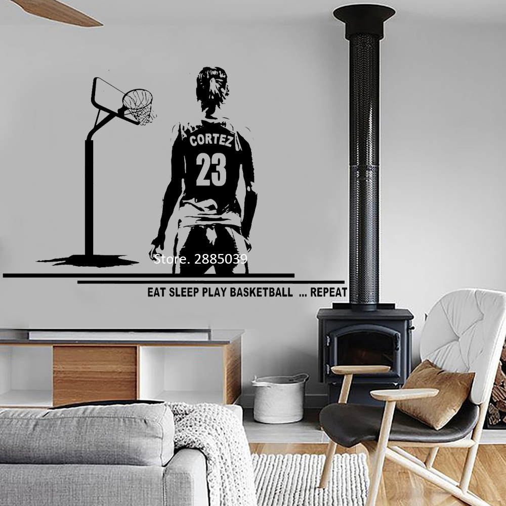 Earphones & Headphones Female Player Wall Decal Basketball Art Wall Decor Mural Custom Name And Jersey Numbers Girl Bedroom Decor Vinyl Stickers Lc1066 To Win A High Admiration
