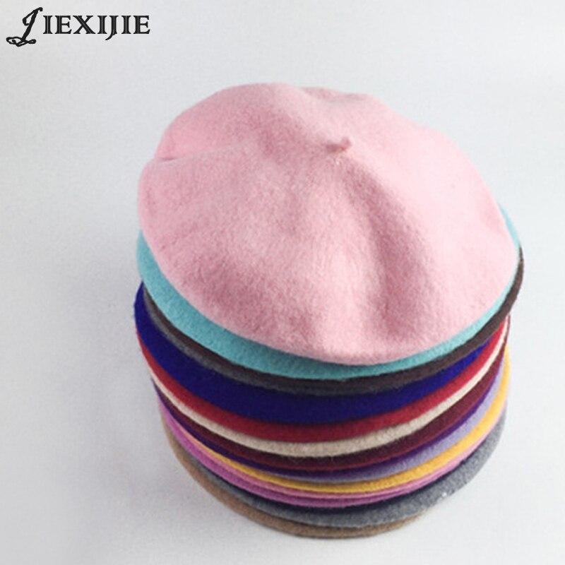 100% lana berretto cap pittore cotto torta di grano protezione calda della ragazza alta Qualità Delle Donne Beret Warm Femminile Cofano Cappelli di Inverno di Colore Solido