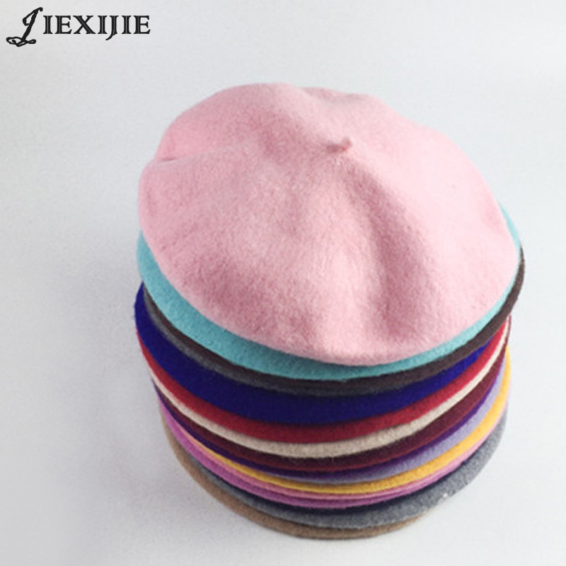 100% wool beret painter cap baked wheat cake cap warm girl High Quality Women Beret Warm Female Bonnet Hats Solid Color Winter