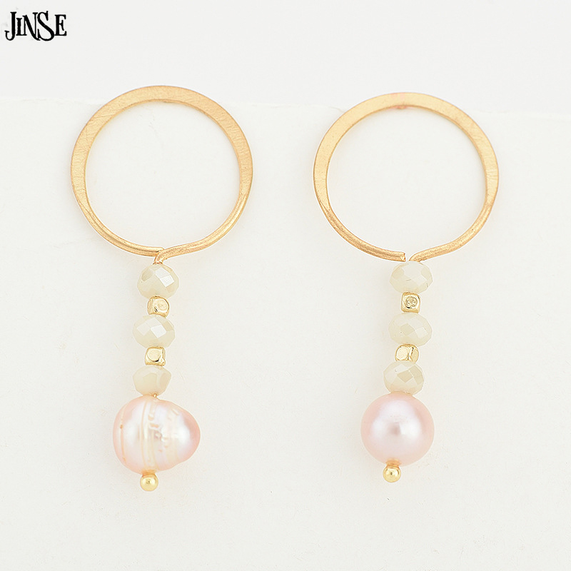 JINSE Women New pearl pendant Earrings Geometric Circle Irregular Beaded Earrings Long Drop Popular Earrings jewelery JHX090