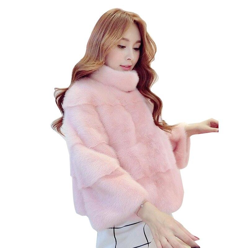 pink Rivestimento Della Di white Grande Inverno Visone Del Basamento H13 Faux Addensare Pelliccia Delle Black Cappotto Formato Breve Collare Donne qFrHwgq