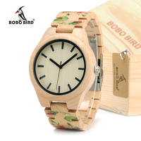 BOBO BIRD Wood Watch With UV Printing Flower Wooden Band Mens Women's Quartz Watches Japanese Miyota 2035 Movement Wristwatches