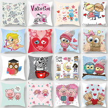 Hot sale cute animal  cartoon  pillow cases square Pillow case cute cartoon rabbit pillow covers size 45*45cm hot sale cartoon girls pillow cases square pillow case cute cartoon ladies pillow covers size 45 45cm