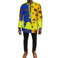 Autumn Dashiki African Bazin Riche Mens Top Clothes Patchwork Shirts Clothes Custom Print Shirt for Men WYN448