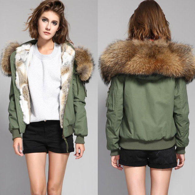 Street Woman Winter Casual Jacket Female Worm Bomber Coat Hooded Large Raccoon Fur Outerwear Rabbit Fur Liner Camisa Camisetas