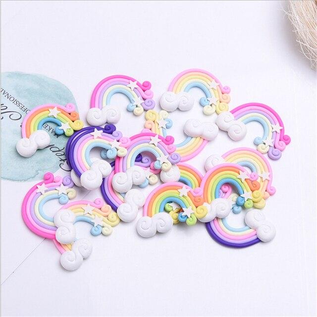 10Pc Clay Handmade DIY Rainbow Star Cake Topper Birthday Party Decorations Kid Unicorn Wedding