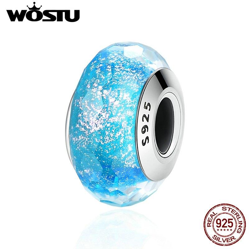 WOSTU Glass-Beads Charm-Bracelet Blue Murano 100%925-Sterling-Silver Original Fine-Jewelry
