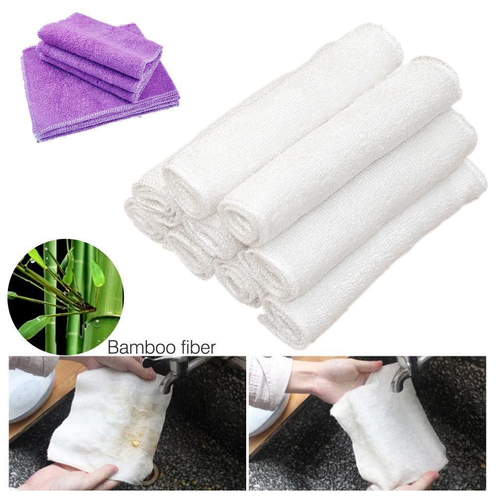 10pcs High Efficient Anti Grease Color Dish Cloth Bamboo