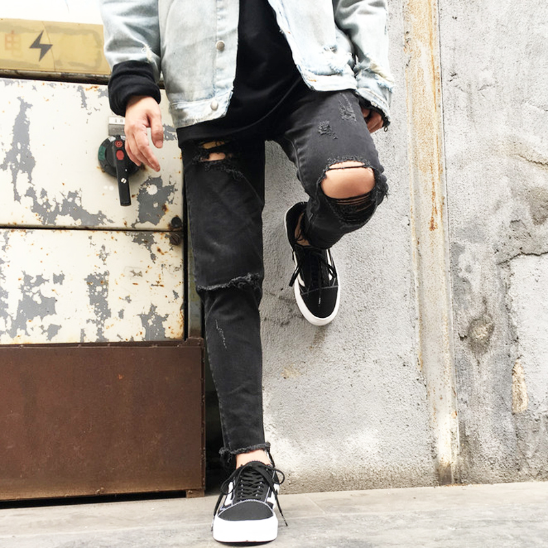 fashion new 2018 original design hole jeans pants high quality hiphop casual Skinny Pencil Pants men and women Black jeans