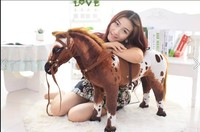 huge simulation war horse toy new brown&whtie horse doll gift toy about 90x53cm