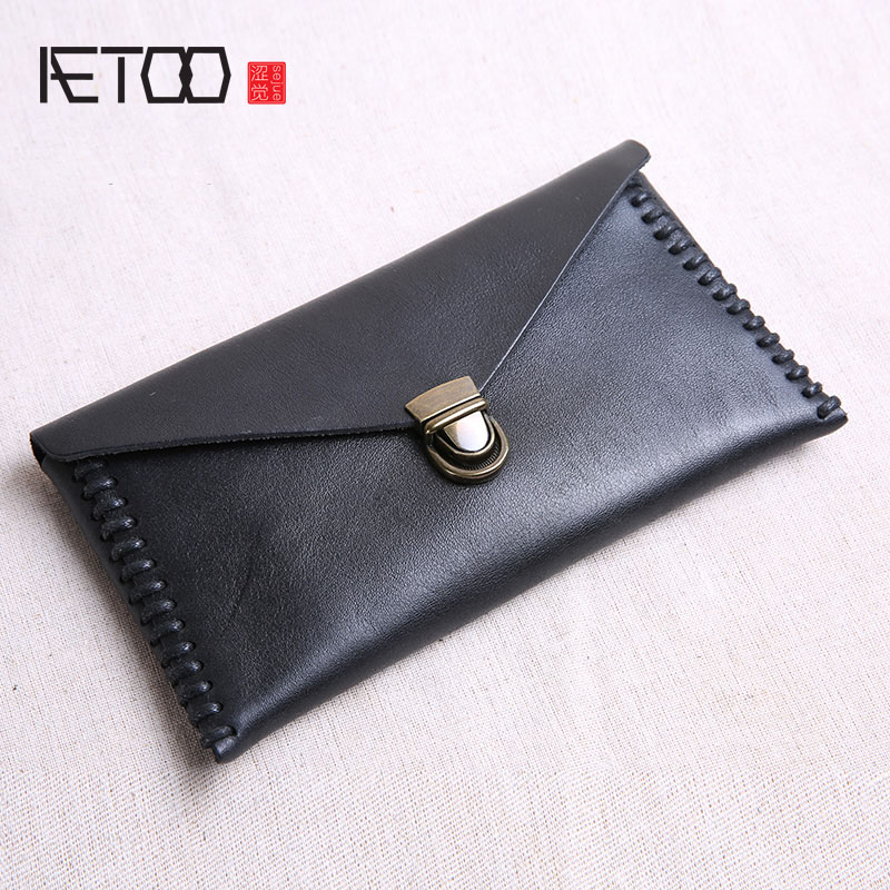 AETOO Original handmade leather wallet male long section slim buckle first layer cowhide female wallet soft