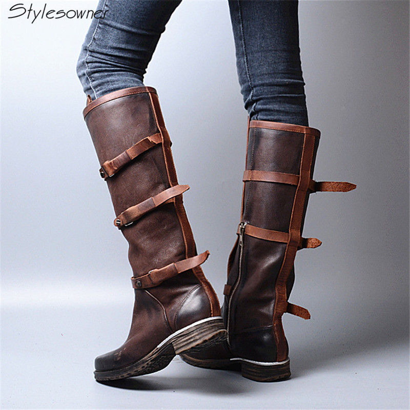 Stylesowner Fashion Belt Buckle Leather Do Old Knee Boots Women Square Toe Zip Side Comfortable Martin Boots Female Black Coffee beango europe retro fashion do old ladies knee high boots round toe square heels buckle side zipper women motorcycle boots