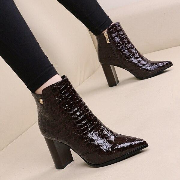 Черный/коричневый 8.5 см высокий каблук Острым Носом сапоги женщин сапоги мода толстый каблук ботильоны sizse 34-39 бесплатная доставка