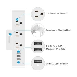 Image 2 - NTONPOWER MNC ติดผนัง USB Power Socket US มาตรฐานไฟฟ้า 3 AC Outlet สมาร์ท USB ชาร์จพอร์ตผู้ถือโทรศัพท์