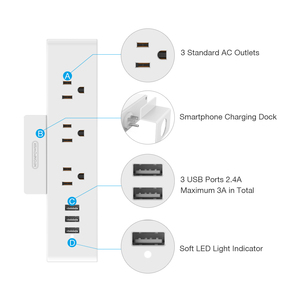 Image 2 - NTONPOWER MNC Wall Mounted USB Power Socket US Standard Electrical Plug 3 AC Outlet 3 USB Smart Charging Ports with Phone Holder