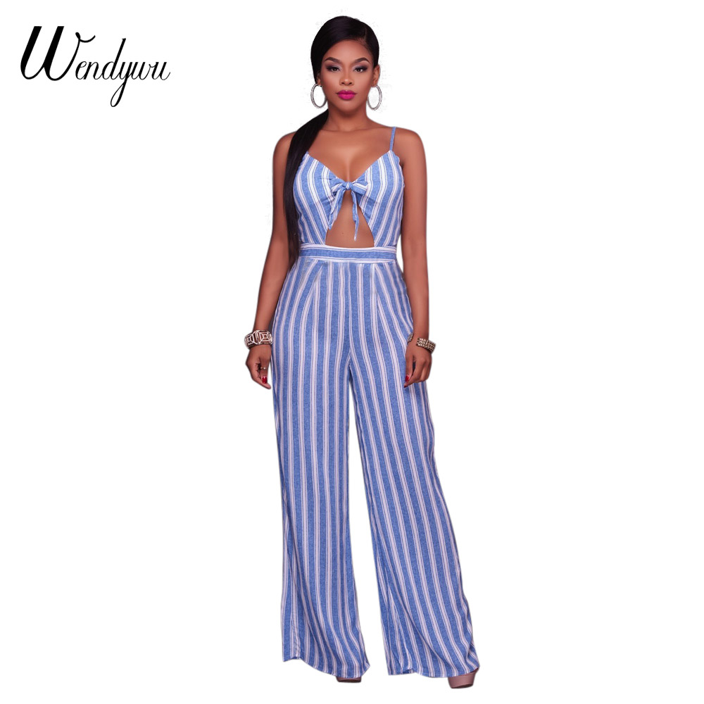 Wendywu New Women Sexy Spaghetti Strap Summer Light Blue White Striped Loose Long Jumpsuit