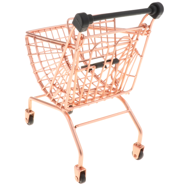 Mini Metal Supermarket Shopping Hand Push Trolley Cart for Toddler/Baby Role Play Pretend Game Toy Developmental - Rose Gold