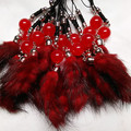 New High Quality Colorful Mink Fur Tail Car Keyring Fur Keychain Fur Brand Bag Charms Keychain Fur Key rings