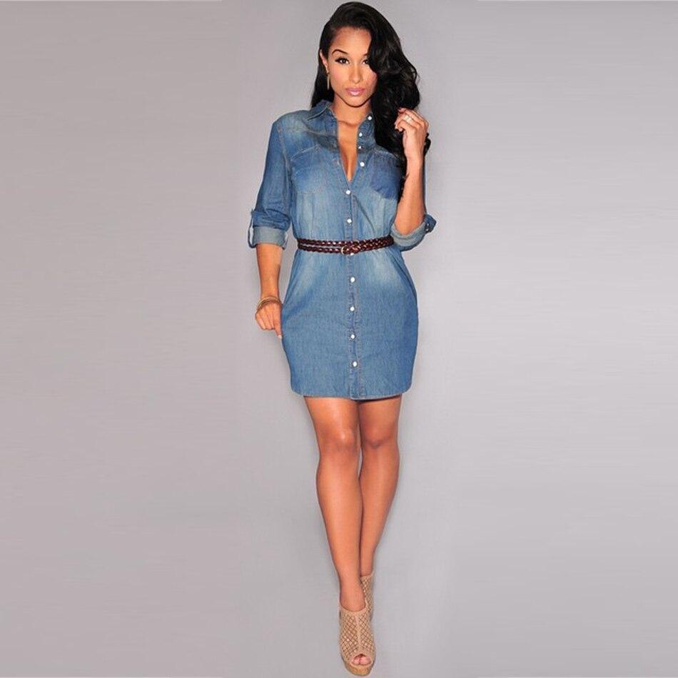 Women Jeans Dress 2017 Spring Autumn Fashion Casual Blue Slim Turn Down Collar A Line