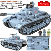 716PCS Military German Tank Building Blocks Compatible Legoed Army WW2 City Soldier Police Figures Weapon Bricks Sets Boys Toys