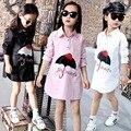 Nueva Primavera Verano 2017 Niños Muchachas de la Marca Camisa de Los Niños Ropa de manga Larga Ropa