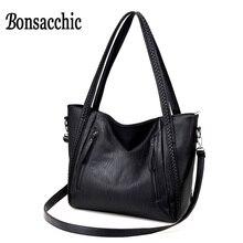Bonsacchic женские сумка Сумки Для женщин известный бренд мягкий кожаный мешок для 2017, женская обувь Дизайнерские Сумки высокое качество сумка