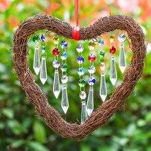 Heart Shape Fengshui Rainbow Maker Crystal Sun-catcher, Window Pendant Chandelier Ball Prisms, Home Garden Decoration Ornament