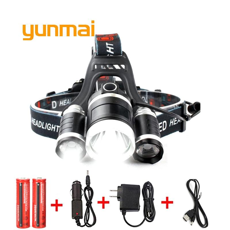 USB Power Led faro 10000 lúmenes 3 * Cree xml t6 recargable cabeza antorcha lámpara 18650 batería de caza pesca luz