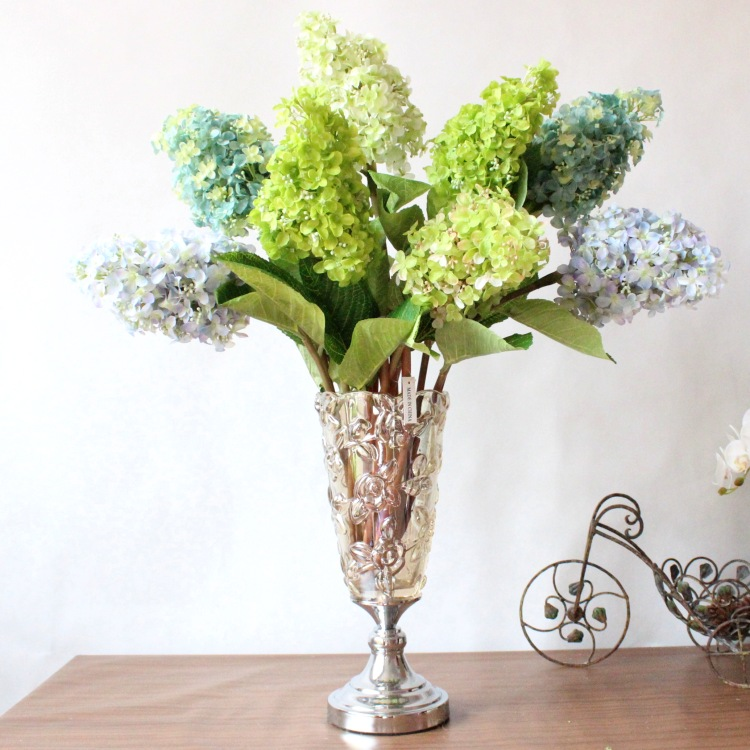 Beautiful artificial hydrangea home decoration faux silk flowers beautiful artificial hydrangea home decoration faux silk flowerswedding party christmas floral arrangements 6pcs in artificial dried flowers from home mightylinksfo
