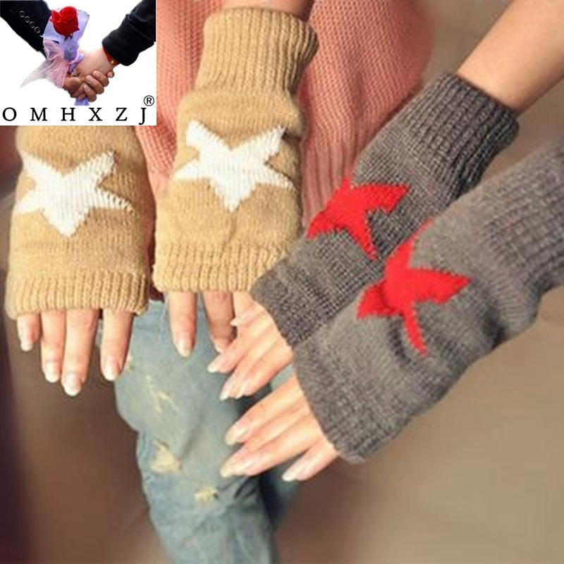 OMH wholesale black white color fashion girls Fingerless in winter Warm wrist cotton gloves Men and women lovers gloves ST29